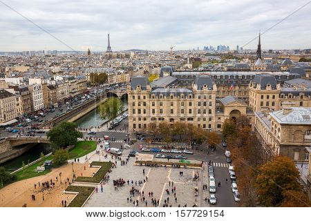 Aerial View Over The Ile De La Cite, Paris, France