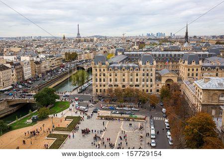 Aerial View Over The Ile De La Cite, Paris, France