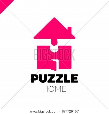 Puzzle Build Construction House Vector Logo Icon