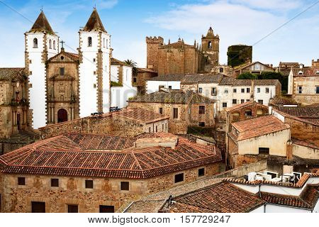 Caceres skyline San Francisco Javier church in Spain Extremadura