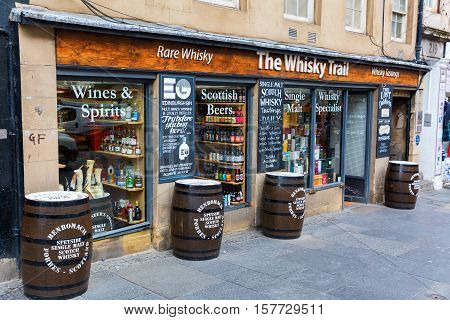Whisky Store At The Royal Mile In Edinburgh