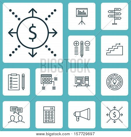 Set Of Project Management Icons On Announcement, Computer And Discussion Topics. Editable Vector Ill