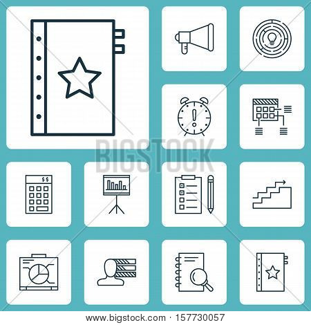 Set Of Project Management Icons On Reminder, Schedule And Announcement Topics. Editable Vector Illus