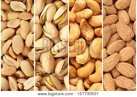 Roasted and salted nuts and seeds collage - peanuts, pistachio nuts, cashew nuts, almonds
