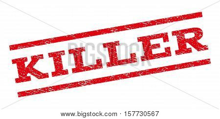 Killer watermark stamp. Text tag between parallel lines with grunge design style. Rubber seal stamp with unclean texture. Vector red color ink imprint on a white background.