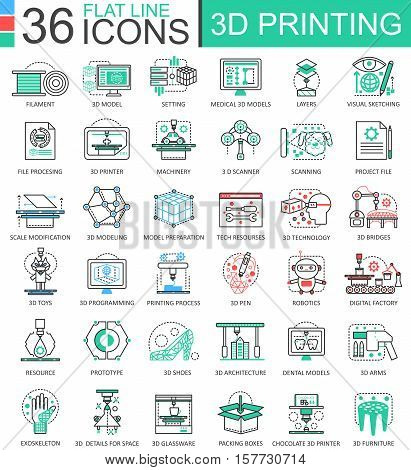 Vector 3D printing technology flat line outline icons for apps and web design. 3D printing icon