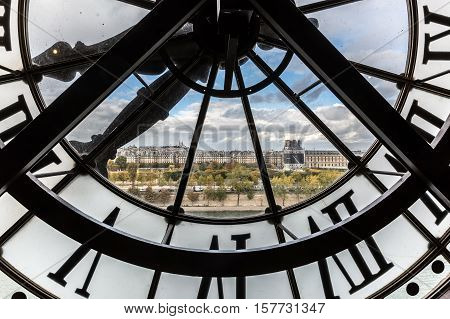 View Through The Giant Clock Of The Musee Dorsay In Paris