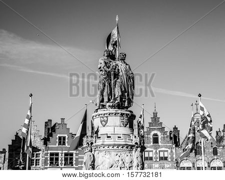 BRUGGE BELGIUM - JANUARY 17 2016: Statue of Jan Breydel and Pieter De Coninck heroes of the battle of the spurs 1302 Bruges Unesco world inheritance. January 17 2016 in Brugge - Belgium.