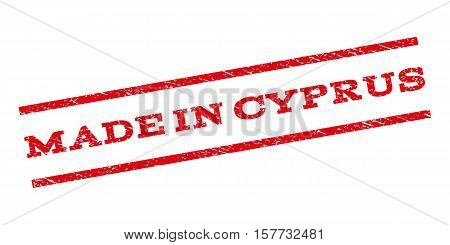 Made In Cyprus watermark stamp. Text tag between parallel lines with grunge design style. Rubber seal stamp with dirty texture. Vector red color ink imprint on a white background.