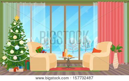 Christmas livingroom flat interior vector illustration. Christmas New Year tree. Winter outside