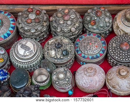 Jeweled boxes for sale by street vendor in Nepal