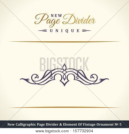 New Calligraphic Page Divider and Element of vintage divider ornament. Elements for retro logo and vector decorative border line