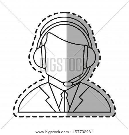 Operator man icon. Technical service online support service and telemarketing theme. Isolated design. Vector illustration