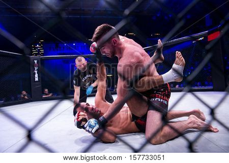 NOVI SAD SERBIA - NOVEMBER 05 2016 : MMA - SBC FIGHT TURNAMENT. ATHLETES IN THE RING EXTREME SPORT. FIGHT NIGHT PROFESIONAL ATHLETES NOVEMBER 05 2016 NOVI SAD SERBIA