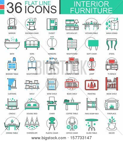Vector interior Furniture flat line outline icons for apps and web design. Furniture collection icons