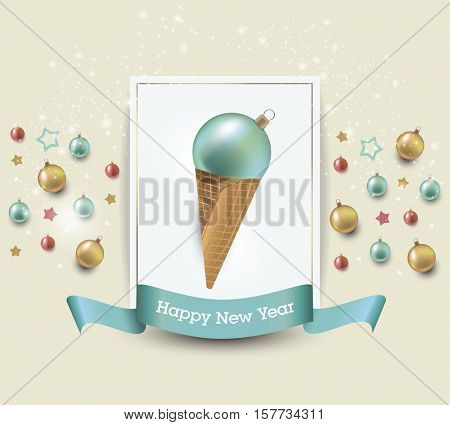 Christmas ice creams, winter holiday food icon. Christmas decoration
