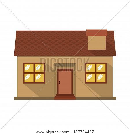 facade confortable house with chimney vector illustration