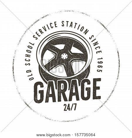 Garage old school service station label. Vintage tee design graphics, complete auto repair typography print. Custom t-shirt stamp, teeshirt graphic. For emblem, logo on web. Vector monochrome artwork.