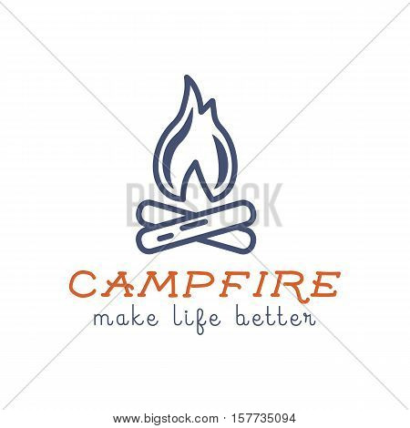 Camping logo design with typography and travel elements - campfire. Vector text - make life better. Hiking trail, backpacking symbols in retro flat colors. Good for prints, tee design, t shirt.
