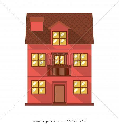 facade confortable residence with balcony vector illustration