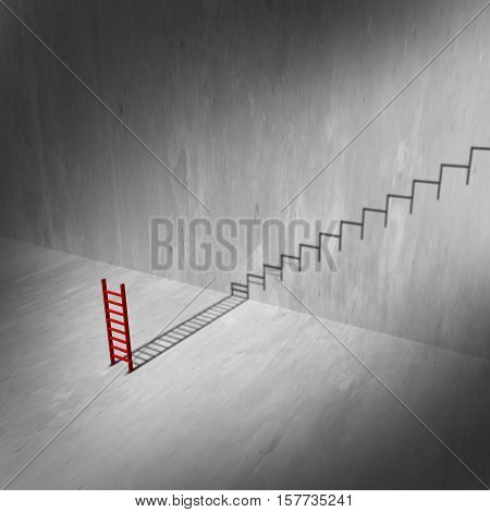 Success ladder and stairs concept as a climbing tool casting a shadow of a staircase or stairs as an infinite rise to success metaphor and ambition symbol as a 3D illustration.