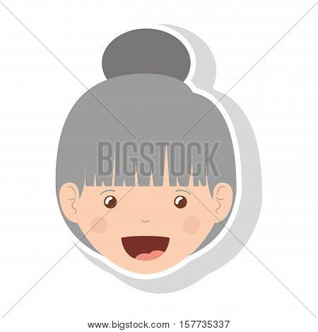 front face elderly woman with glasses and collected hair vector illustration