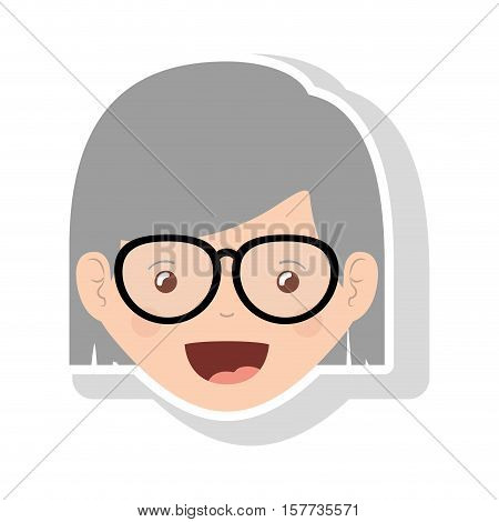 front face elderly woman with glasses and short hair vector illustration