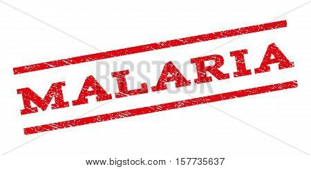 Malaria watermark stamp. Text tag between parallel lines with grunge design style. Rubber seal stamp with dirty texture. Vector red color ink imprint on a white background.