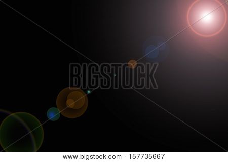 Sun light effect on the black color background.