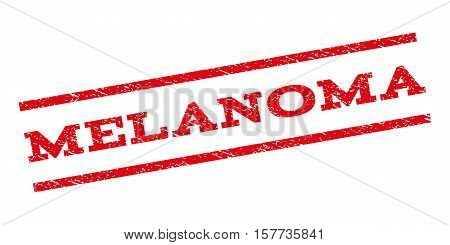 Melanoma watermark stamp. Text tag between parallel lines with grunge design style. Rubber seal stamp with dust texture. Vector red color ink imprint on a white background.