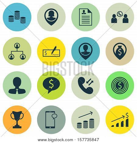 Set Of Hr Icons On Curriculum Vitae, Cellular Data And Coins Growth Topics. Editable Vector Illustra