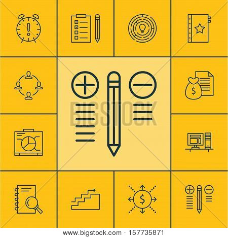 Set Of Project Management Icons On Time Management, Report And Collaboration Topics. Editable Vector