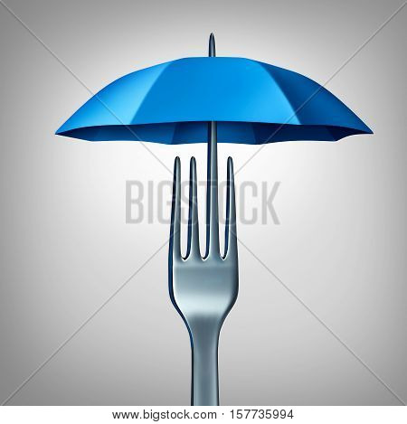 Food protection and eating safety symbol as a fork shaped with an umbrella as a freshness and hygiene or contamination prevention icon as a 3D illustration.