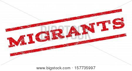 Migrants watermark stamp. Text caption between parallel lines with grunge design style. Rubber seal stamp with dust texture. Vector red color ink imprint on a white background.