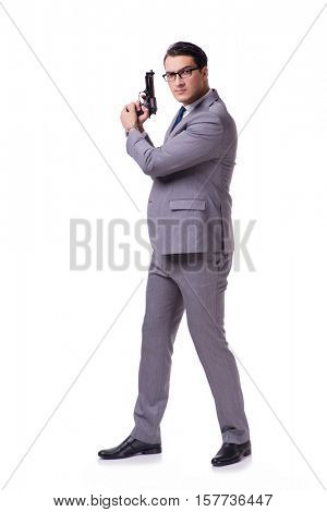 Aggressive business manager with handgun isolated on white