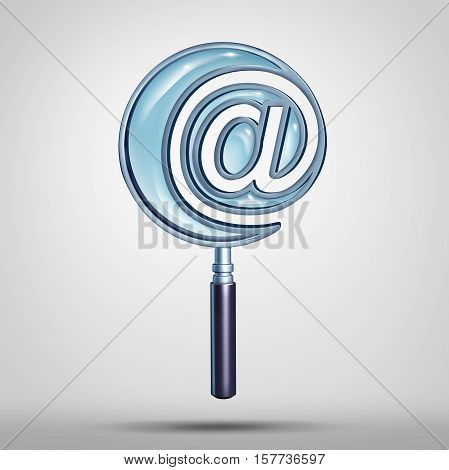 Email and internet search technology concept as a magnifying glass shaped as an e-mail symbol or at sign icon as a cyber and website address metaphor as a 3D illustration.