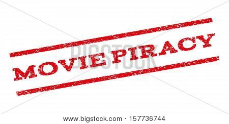 Movie Piracy watermark stamp. Text tag between parallel lines with grunge design style. Rubber seal stamp with scratched texture. Vector red color ink imprint on a white background.