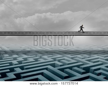 Businessman success road concept as a person running on a path over a complicated maze or labyrinth as a business solution metaphor with 3D illustration elements.