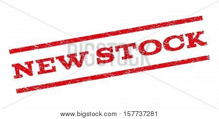 New Stock watermark stamp. Text caption between parallel lines with grunge design style. Rubber seal stamp with scratched texture. Vector red color ink imprint on a white background.