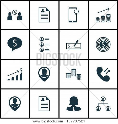Set Of Management Icons On Bank Payment, Cellular Data And Successful Investment Topics. Editable Ve