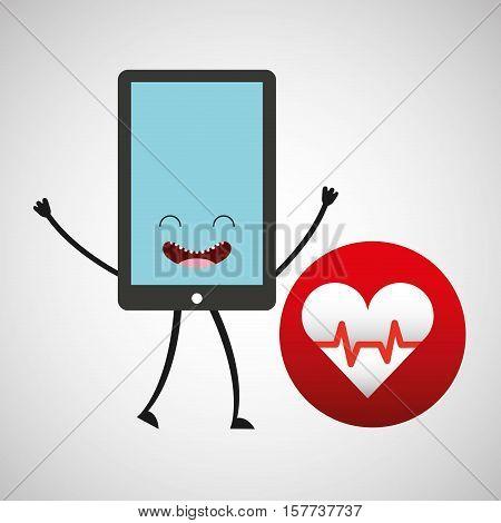 smartphone cartoon with heart cardiology vector illustration eps 10