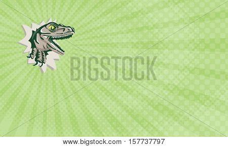 Business card showing Illustration of a raptor t-rex dinosaur lizard reptile head breaking out of wall viewed from the side done in retro style.