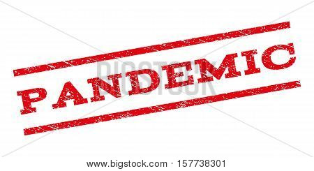 Pandemic watermark stamp. Text tag between parallel lines with grunge design style. Rubber seal stamp with dust texture. Vector red color ink imprint on a white background.