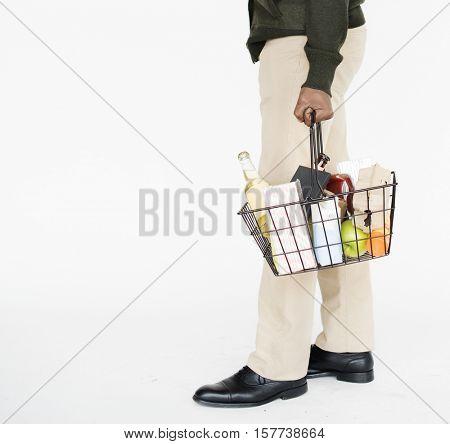 Man Holding Shopping Basket Concept