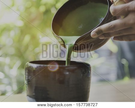 Tea Aromatic Drink Freshness Maccha Pouring Concept
