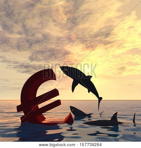 Conceptual 3D illustration bloody euro symbol or sign sinking in water or sea, with black sharks eating, metaphor or concept