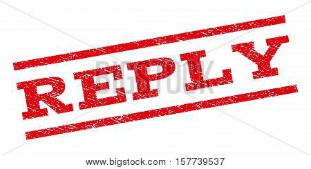 Reply watermark stamp. Text caption between parallel lines with grunge design style. Rubber seal stamp with dust texture. Vector red color ink imprint on a white background.