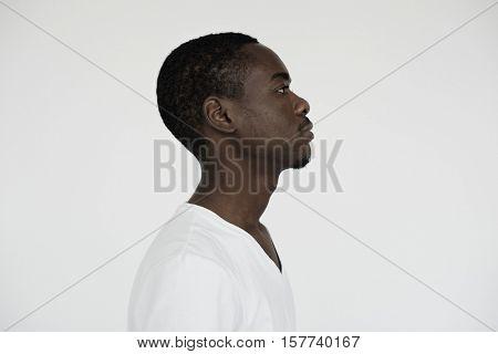 Man Thoughtful Studio Portrait Concept
