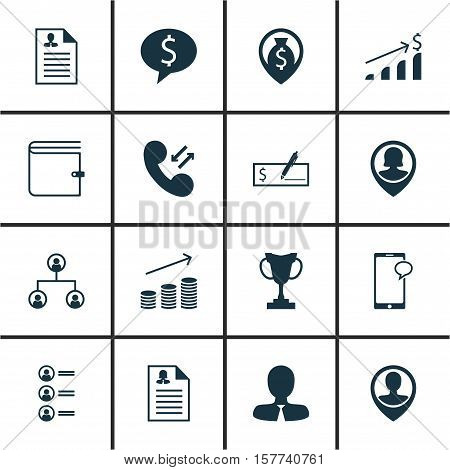 Set Of Human Resources Icons On Messaging, Manager And Curriculum Vitae Topics. Editable Vector Illu