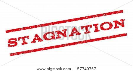 Stagnation watermark stamp. Text caption between parallel lines with grunge design style. Rubber seal stamp with dust texture. Vector red color ink imprint on a white background.